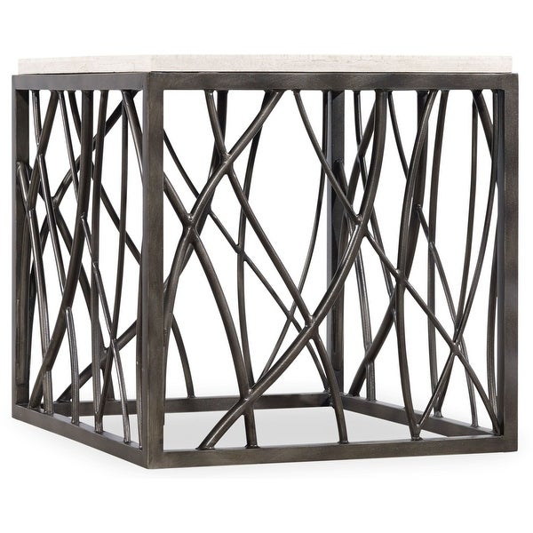 """Hooker Furniture 5373-80113 24"""" Wide Steel and Marble Accent Table from the Tubular Collection - Vintage Steel"""