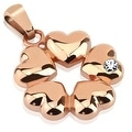 Five Hearts with CZ Rose Gold IP Over Stainless Steel Pendant (20 mm Width) - Thumbnail 0