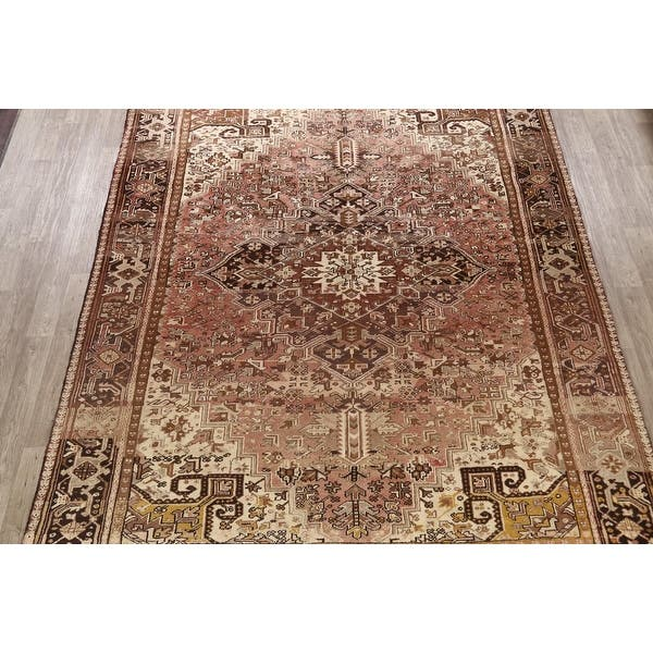 Traditional Geometric Heriz Persian Area Rug Wool Hand Knotted 8 9 X 11 3 Overstock 32234951