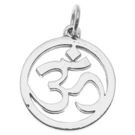 Sterling Silver Charm, Aum Om Ohm Symbol 20mm Round Pendant, 1 Piece, Silver