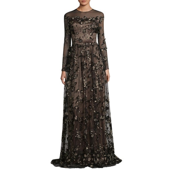 6749bb521bfa David Meister Floral Embroidered Illusion Long Sleeve Evening Gown Dress  Black/Nude