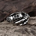 Vienna Jewelry Open Ended Skulls Stainless Steel Ring - Thumbnail 3