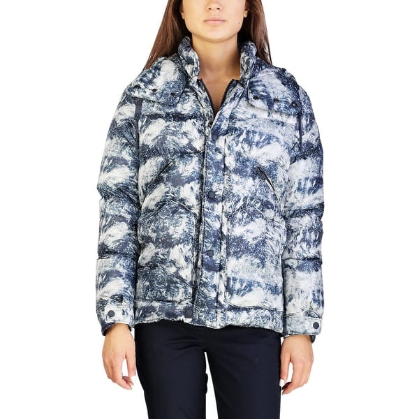 535326dd5d6 Shop Moncler Women's Nylon Particle Print Down Jacket Blue - Free ...