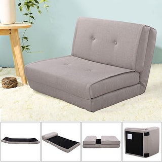 Costway Fold Down Chair Flip Out Lounger Convertible Sleeper Bed Couch Game Dorm Gray