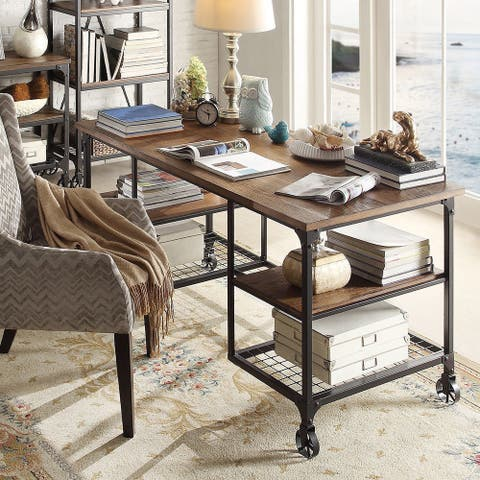 Nelson Industrial Modern Rustic Storage Desk by iNSPIRE Q Classic