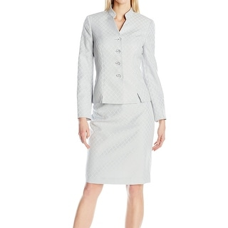 Le Suit NEW Gray Silver Women's Size 12 Stand-Collar Skirt Suit Set