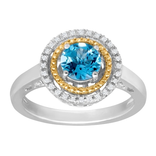 1 ct Swiss Blue Topaz Ring with Diamonds in Sterling Silver and 14K Gold