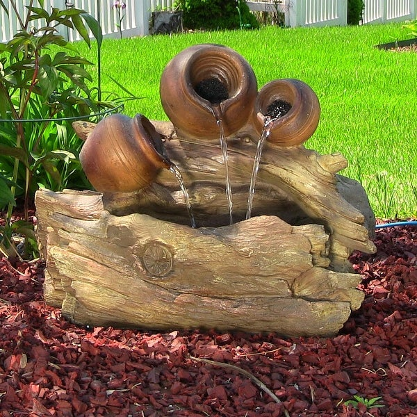 Sunnydaze Tree Trunks & Pitchers Fountain with LED Lights 17 Inch Tall