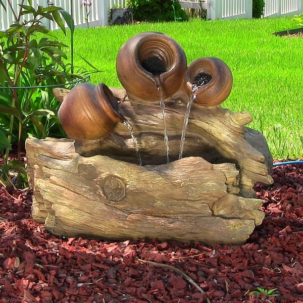Sunnydaze Tree Trunks and Pitchers Water Fountain with LED Lights - 17-Inch