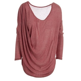 Free People Womens Juniors Heathered Asymmetric Knit Top