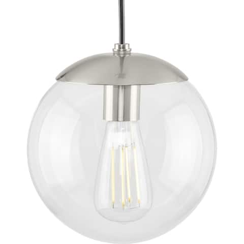 Atwell Collection 1-Light Clear Glass Brushed Nickel Small Pendant - 8 in x 8 in x 8.75 in