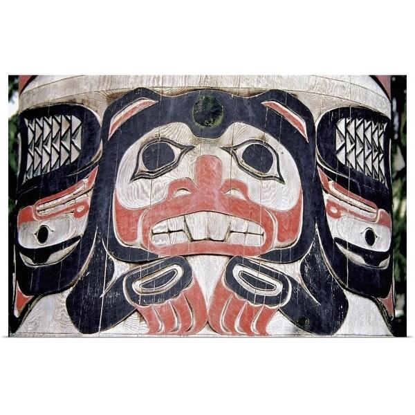"""Close-Up Of A Painted Face On Totem Pole, Ketchikan, Alaska, USA"" Poster Print"