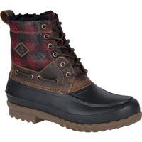 Sperry Top-Sider Men's Decoy Shearling Duck Boot Red Plaid/Black Full Grain Leather