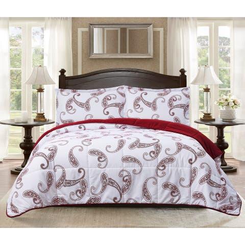 "All Seasons Goose Down Alternative Paisley Print 3 Piece King Comforter and 2 Sham Set 106""x92"" Burgundy"