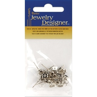 Flat Pad Earring Posts & Butterfly Clutches 6mm 36/Pkg-Surgical Steel