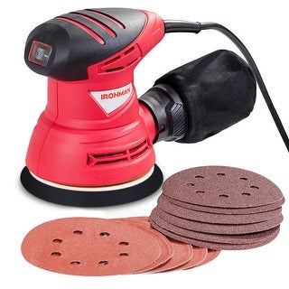 5'' Palm Random Orbit Sander 13000RPM w/ Dust Collector System & 12Pcs Sandpapers - as pic