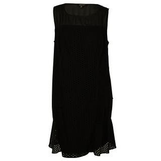 Spense Women's Sheer Trim Solid Color Dress - Black|https://ak1.ostkcdn.com/images/products/is/images/direct/d28b6f0194ab66c6ff239d3619b0236a6a5679f6/Spense-Women%27s-Sheer-Trim-Solid-Color-Dress.jpg?impolicy=medium
