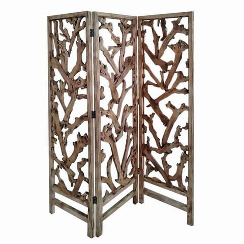 3 Panel Wooden Screen with Mulberry Alpine Like Branches Design, Brown - 72 H x 6 W x 60 L Inches
