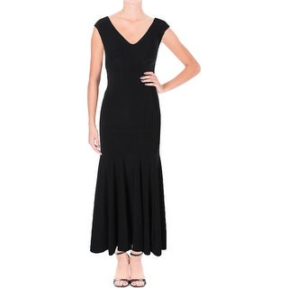 Betsy & Adam Womens Petites Formal Dress Ponte V-Neck