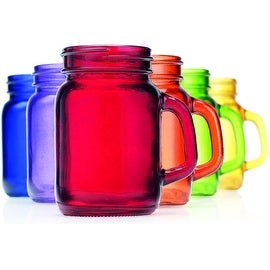 Palais Mason Jar Shot Glasses - Holds 5 Oz - Set of 6 (Full Colored)