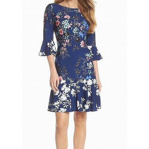 b86ba3eb Shop Eliza J Blue Floral Print Bell Sleeve Women's Size 18 A-Line ...