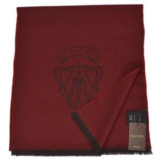 "Gucci 344993 Men's 100% Wool Burgundy Red Hysteria Logo Scarf Muffler - 70"" x 15"""