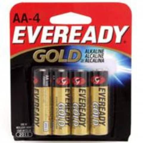 Eveready Gold A91BP-4 Alkaline Batteries, 1.5 Volt, AA