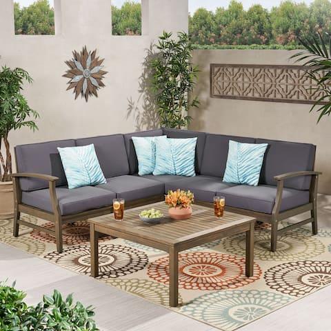 Perla Acacia Wood Outdoor 5-seater Sectional Sofa Set
