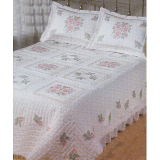 """Stamped Cross Stitch Quilt 90""""X103""""-Roses & Lace"""