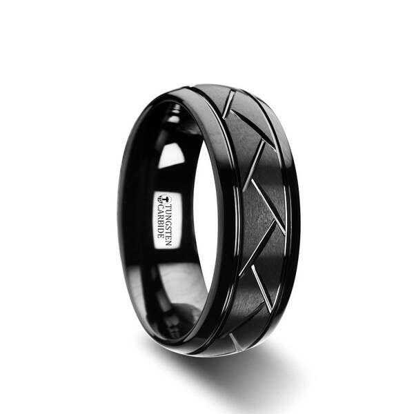 THORSTEN - ENIGMA Domed Black Tungsten Ring with Brushed Cross Alternating Diagonal Cuts Pattern