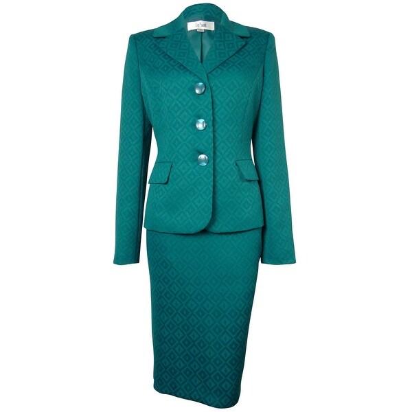 Le Suit Women's Woven Pattern Vienna Skirt Suit - peacock - 6
