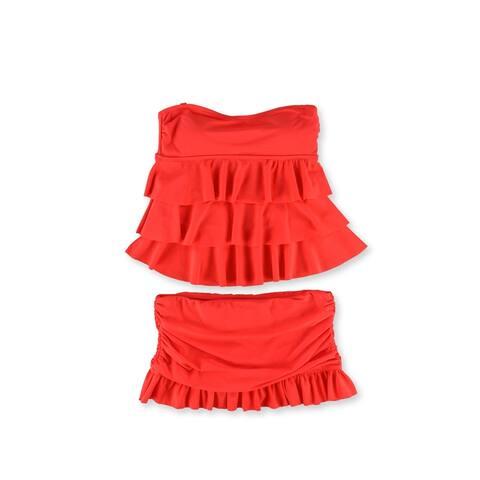 Island Escape Womens Tiered Ruffle Skirt 2 Piece Bandeau, orange, 8