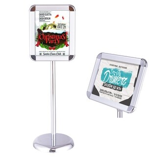 Goplus Adjustable Pedestal Poster Stand Aluminum Snap Open Frame For 8.5'' x 11'' Graphic