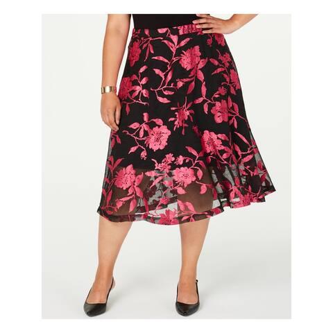 ALFANI Womens Black Floral Midi Pleated Skirt Size 24W
