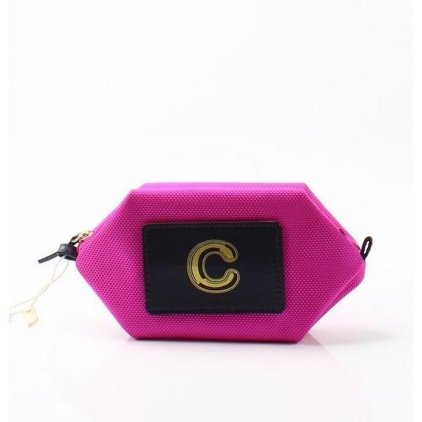 "Boulevard Bright Pink Monogram ""C"" Nylon Bubble Pouch Mini Wallet"