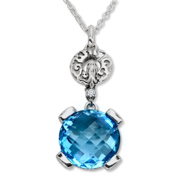 Evert DeGraeve 8 1/3 ct Natural Swiss Blue Topaz Pendant in Sterling Silver