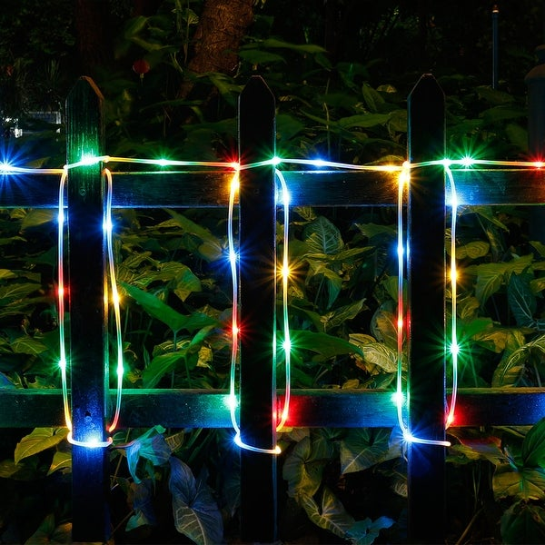 Solar Waterproof 42.6FT 100LED Rope Lights w/ 2400mah High Capacity Battery 8 model RGB