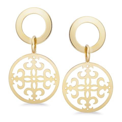 Bronzoro 18 k gold plated Filigree Drop Earrings