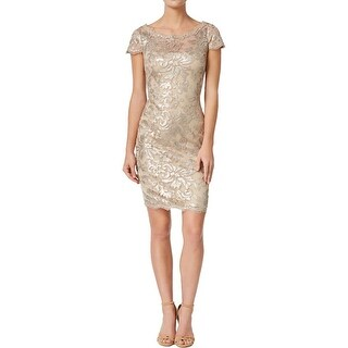 Calvin Klein Womens Cocktail Dress Lace Sequined