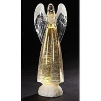 """Set of 2 LED Lighted Praying Christmas Angel with Confetti Figurine 13.5"""""""