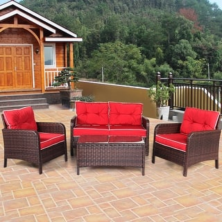 Costway 4 Pcs Outdoor Patio Rattan Wicker Loveseat 2 Single Sofas And 1 Tea Table