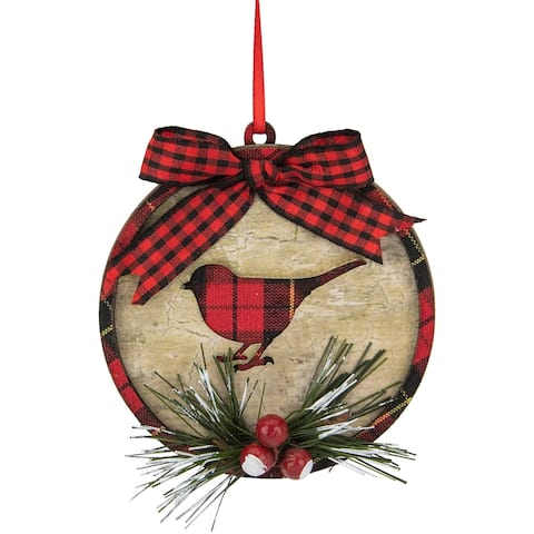 "4"" Red and Black Plaid Cardinal with Holly Berries Christmas Ornament"