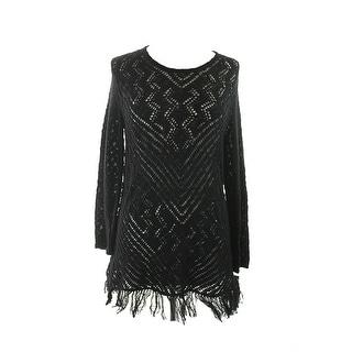 Style & Co.  Black Long-Sleeve Fringed Tunic Sweater  M
