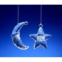 "Club Pack of 16 Icy Crystal Santa Face Star and Moon Christmas Ornaments 3"" - CLEAR"