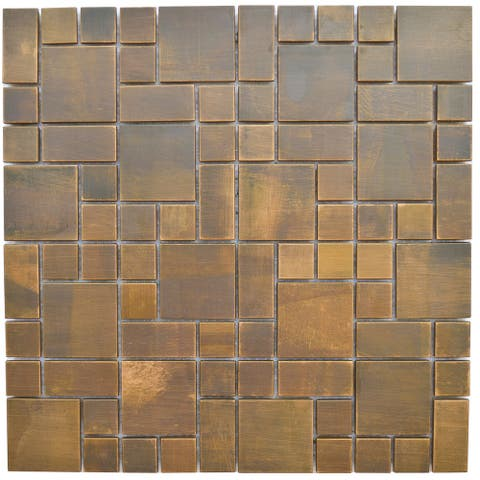 Cobble Antique Copper Mosaic Tile 11.8x11.8 (11 tiles/10.63 Sqft)