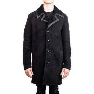 Diesel Black Gold Men's Sheepskin Leather Top Coat Jacket Black