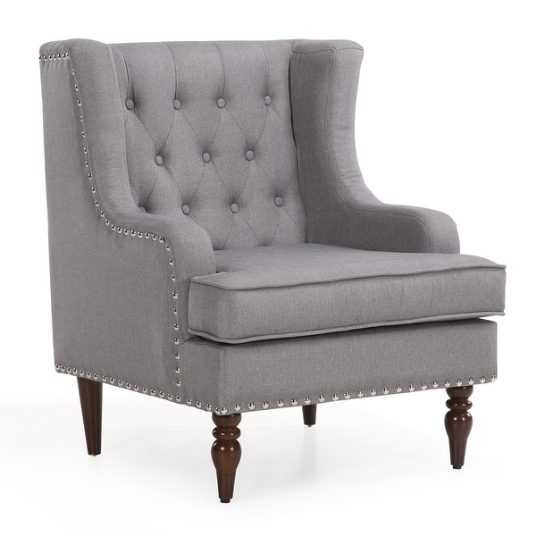 Belleze Wingback Chair with Arms Classic Button Tufted Traditional Ergonomic Cushioned Club Seat Nailhead Trim  sc 1 st  Overstock.com & Shop Belleze Wingback Chair with Arms Classic Button Tufted ...