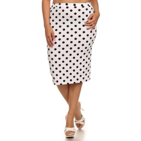 Women's Polka Dot Plus Size Midi Skirt