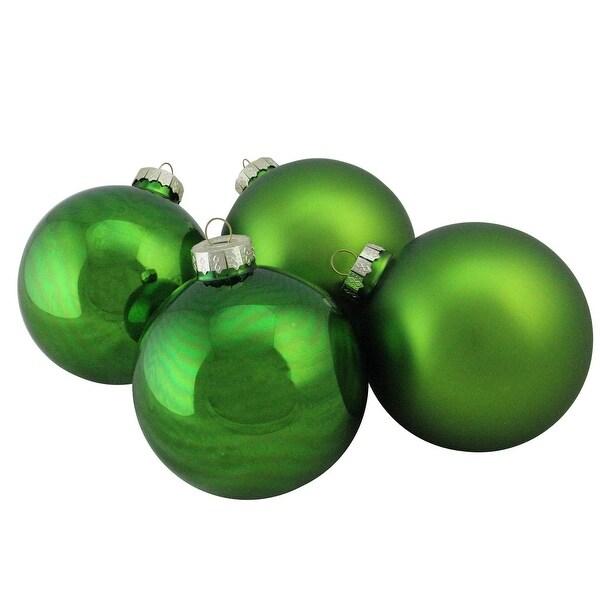 "4-Piece Shiny and Matte Kiwi Green Glass Ball Christmas Ornament Set 4"" (100mm)"