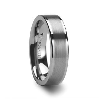 AIRES Flat Brush Finish Center Tungsten Carbide Ring - 6mm